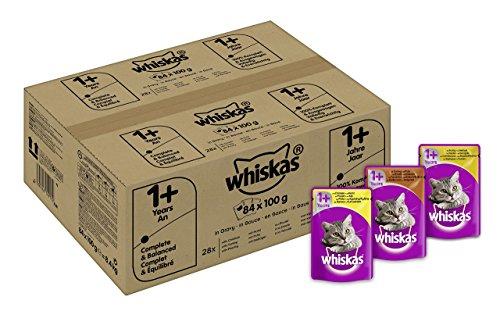 Whiskas 1+ Katzenfutter Geflügelauswahl in Sauce, 84 Beutel (84 x 100 g)
