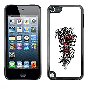 Paccase / SLIM PC / Aliminium Casa Carcasa Funda Case Cover para - Tribal Rose Skull - Apple iPod Touch 5