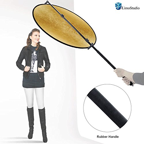 LimoStudio 43'' Lighting Reflector Diffuser with Rubber Hand Grip Extendable Reflector Holder Boom Arm Support, AGG1786 by LimoStudio
