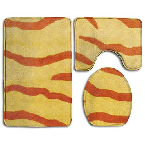 (WEEDKEYCAT Yellow Zebra Stripe Non Slip Large Home Bathroom Rugs Doormats,Soft Toilet Rug U-Shaped Mat,Premium Round Toilet Lid Cover 3 Pieces Set)