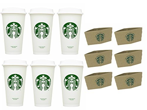 Starbucks Travel Coffee Cup Reusable Recyclable Spill-proof BPA Free Grande 16 Oz Pack of 6 with Sleeves (Starbucks Hot Cup Sleeve)