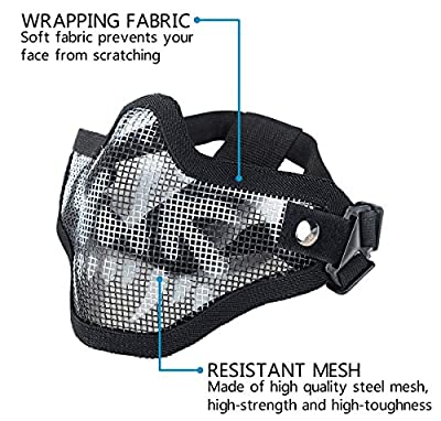 XCYT Tactical Airsoft Mask Adjustable Half Face Mask Steel Mesh Mask and Goggles Set for Hunting, Shooting, Paintball (Black)