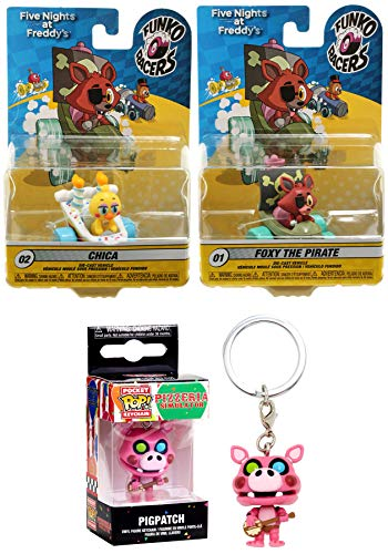 Wild Cake Race Series Five Nights at Freddy's Character Pack Pigpatch Pizzaria Guitar Pop Keychain + Chica Duck Car & Foxy The Pirate Ship Racer Collectible 3 Item ()