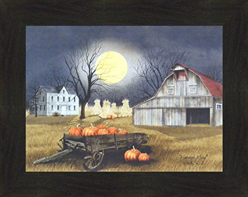 (Harvest Moon by Billy Jacobs 16x20 Primitive Farm Barn Pumpkins Full Moon Corn Shocks Wagon Framed Print Picture)