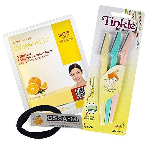 Tinkle Eyebrow Razor 1ea & Dermal Essence Face Mask 1ea-OSSAMI TD Set ()