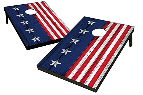 Wild Sports 2'x3′ Wood Stars & Stripes Cornhole Set, Red/White/Blue
