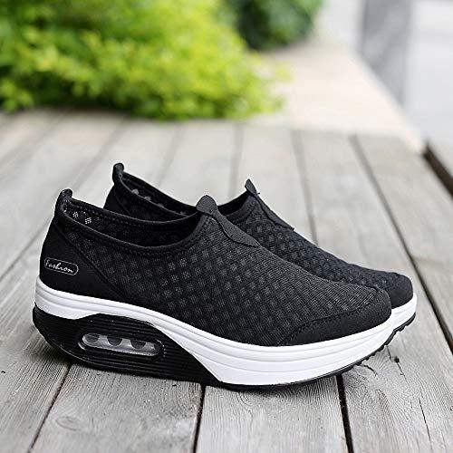 Cómodos Calzado Cuña Aptitud Deportivo Para Mujer Exterior Tefamore Plataforma Sneaker Calzo Caminar Zapatilla Negro Zapatos Zapatillas Deporte De xg1tnqw