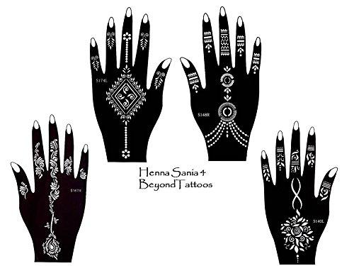Tattoo Schablone Vorlage 4 Stück Set Henna Designs zur einmaligen Verwendung für Hände Sania 4 Beyond Sania4