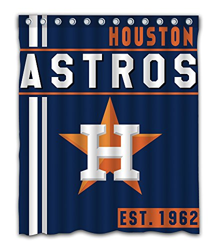 (Houston Baseball Team Emblem Waterproof Shower Curtain Blue Design Polyester for Bathroom Decoration 60 x 72 Inches with 12-Pack Plastic Hooks)