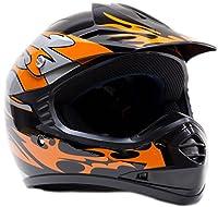 Youth Kids Off Road Gear Combo Helmet Gloves & Goggles - Orange (XL) by Typhoon Helmets