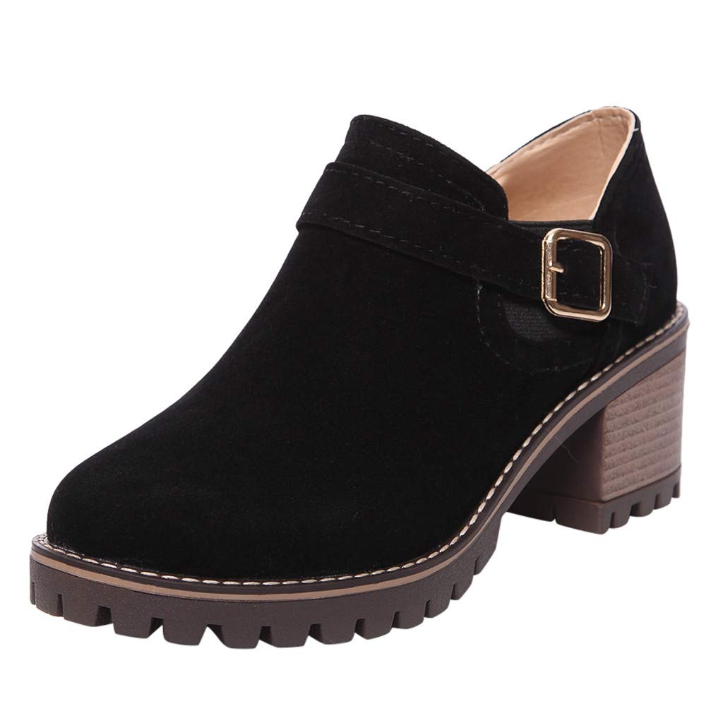 ⭐ Futurelove ⭐ Women Western Ankle Boots Mid-Heels Pointed Toe Block Heel Suede Retro Booties Fashion Belt Buckle Boots Black by ⭐ Futurelove ⭐