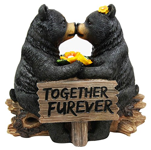 Ebros Romantic Black Bear Couple Kissing by Wooden Log Statue 7