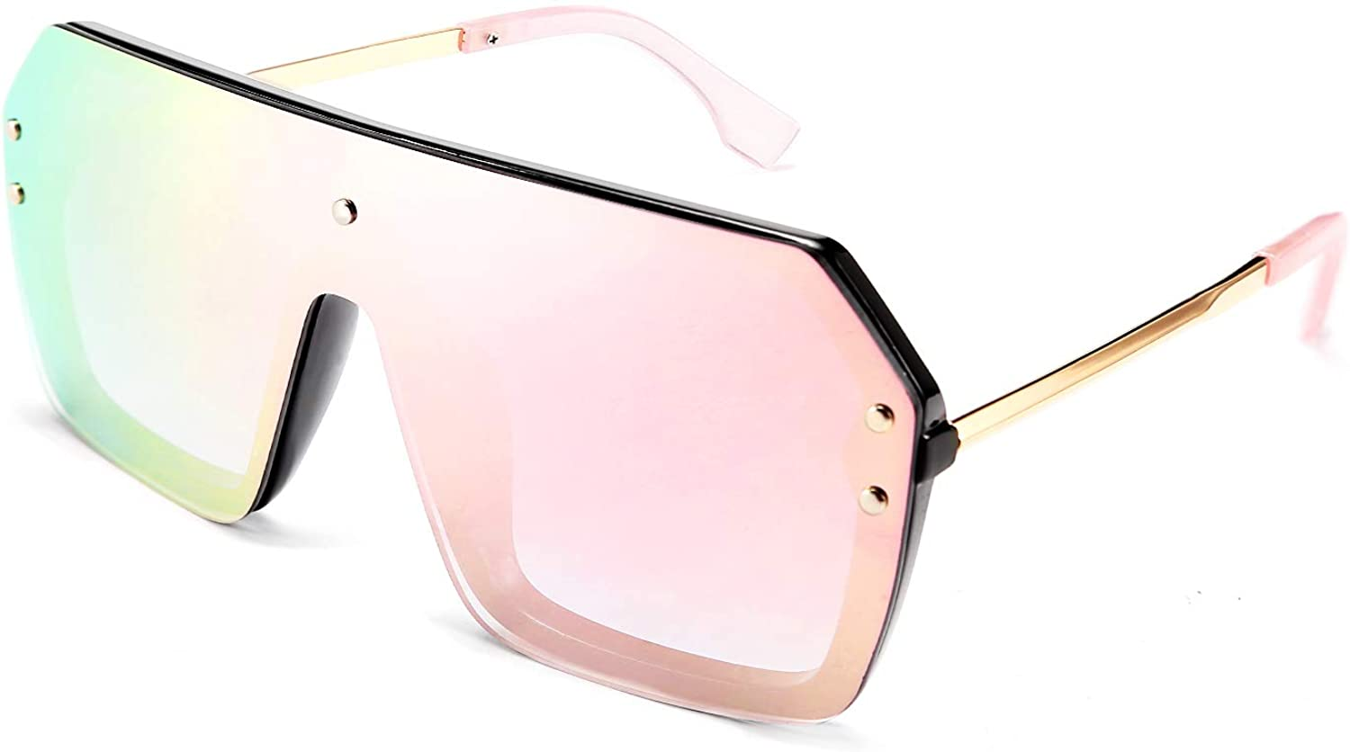 FEISEDY Classic Siamese One Piece Sunglasses Nice Rimless Stylish Retro Design for Women Men B2574