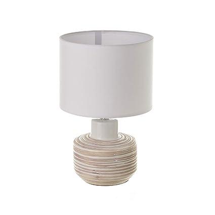 Lámpara de mesita de Noche de cerámica Blanca rústica para Dormitorio Vitta - LOLAhome