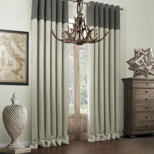 ( One Panel Grommet Top ) Room Darkening Bamboo Fiber Faux Drapery Curtain Panel for Bedroon and Livingroom – 100″W x 102″L