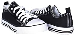 Shop Pretty Girl Women S Casual Canvas Shoes Solid Colors Low Top Lace Up Flat Fashion Sneakers Version 2 8 Black And White