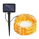 (US) Syntus Upgraded 33 Ft 8 Modes 100 LED Outdoor String Lights Solar Decorative Light For Garden, Wedding, Parties, Christmas Holiday Decoration (Warm White)
