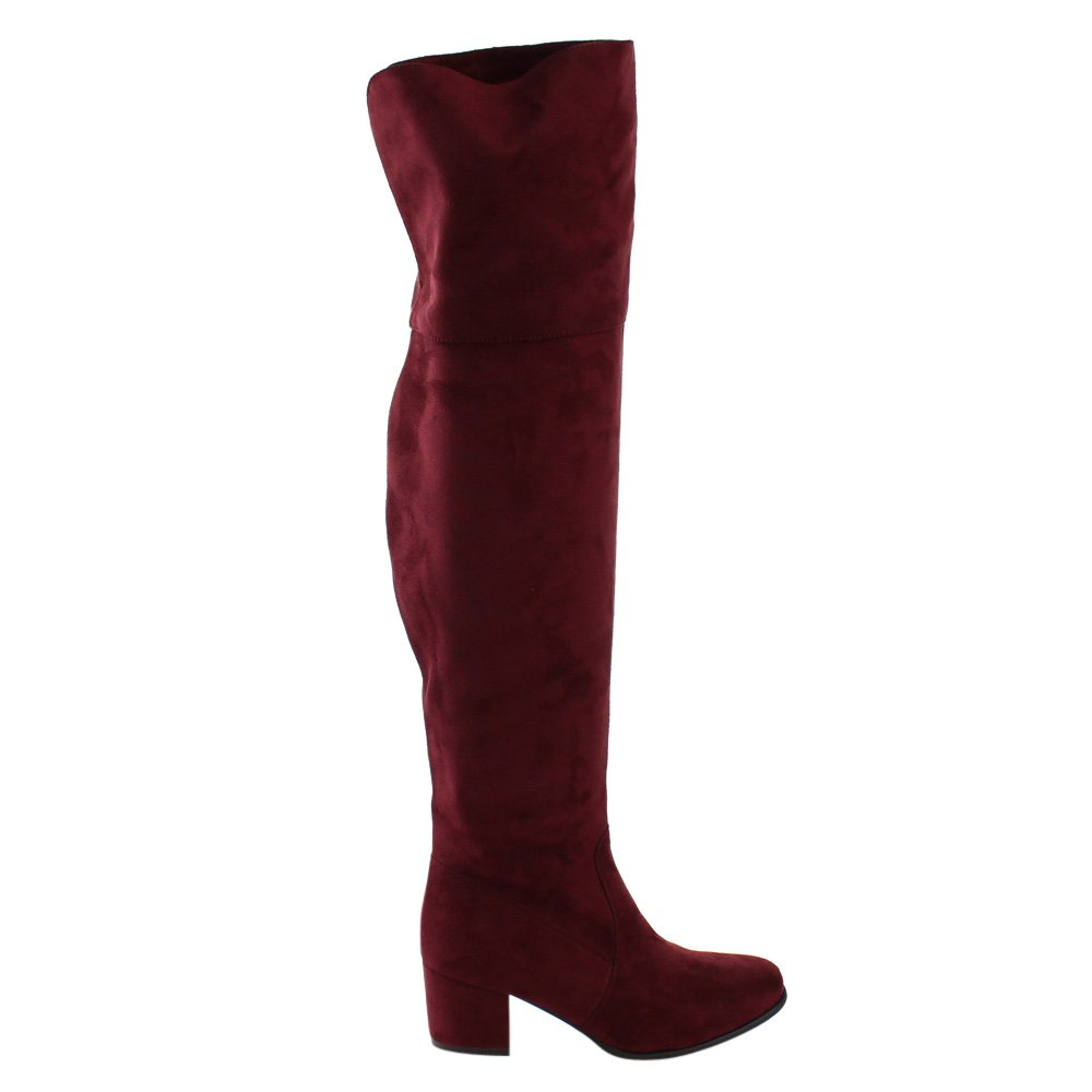 Nature Breeze Womens Linden-01 Over The Knee Mid High Block Heel Boots