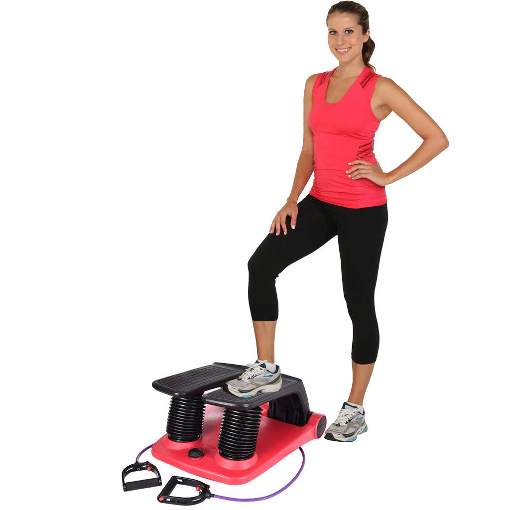 Air Stepper with Resistance Bands, Mini Stepper Stair Stepper Exercise Equipment with Fitness Bands, Climber Exercise Fitness Thigh Machine (Red) by MaiKaili-tool Fast logistics 5-7 days to arrive
