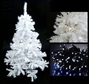 White Artificial Christmas Tree 6ft 180cm 10 Metre 100