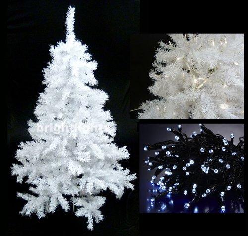 White Artificial Christmas Tree 6ft 180cm 10 Metre 100 Led