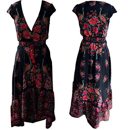 R.Vivimos Women Summer Deep V Neck Long Dresses Small