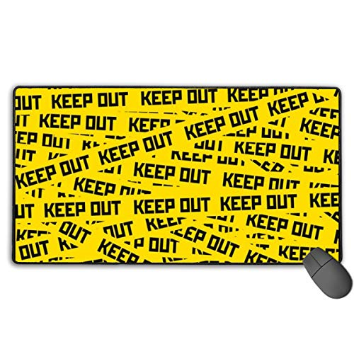 FannyMT Large Gaming Mouse Pad with Keep Out Caution Tape Print, Non-Slip Long Mouse Mat Extended Mousepad with Stitched Edges (29.5