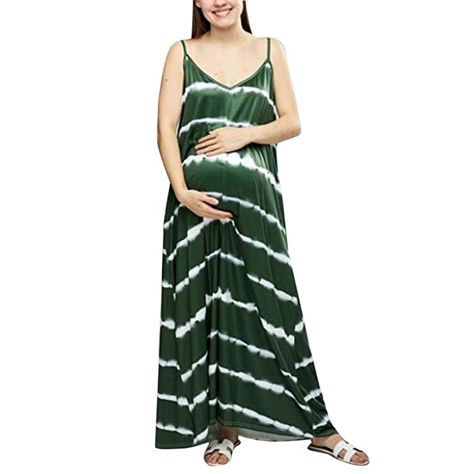 6ab6d4f0ab3fe Maternity Sleeveless Sling Maxi Dress with Pockets, Women's Summer Casual  Striped Printed Strap Pregnant Long Dress at Amazon Women's Clothing store: