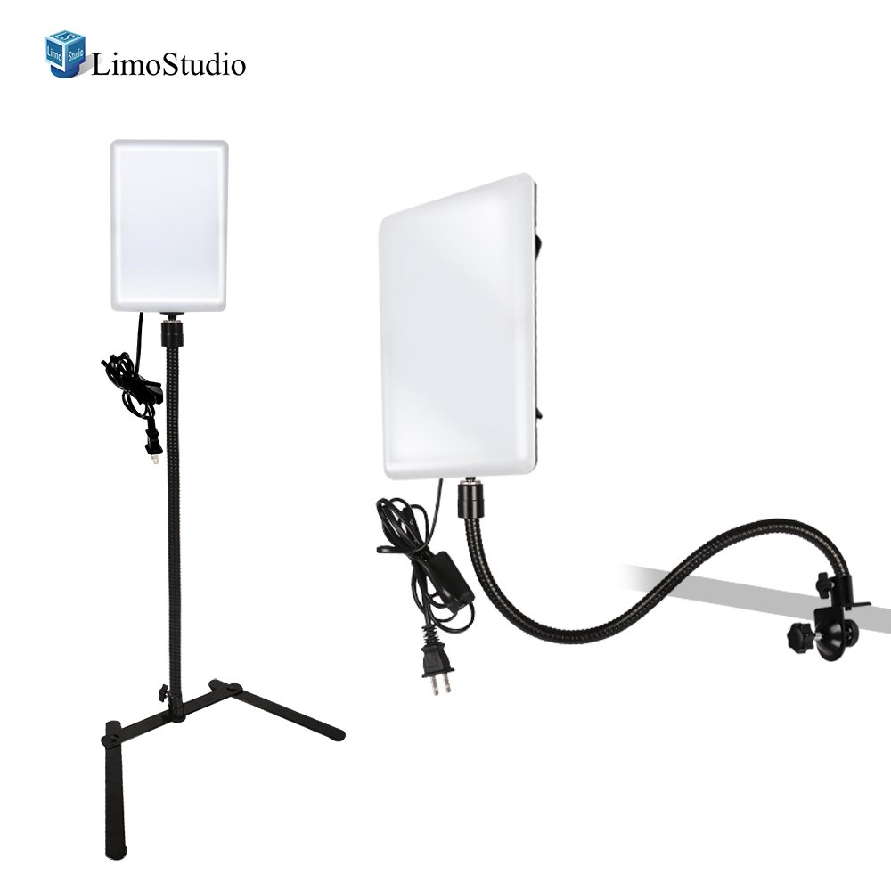 LimoStudio [2 Pack] LED Light Panel with Gooseneck Extension Adapter, Mini Table Top Light Stand, and Mounting Clamp, Photo Video Lighting Kit, Photo Studio, AGG2205