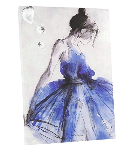 Niwo ART (TM) - Blue Skirt Dancing Girl - Ballet Dancing Series. Modern Abstract Painting Reproduction. Giclee Canvas Prints Wall Art for Home Decor, Stretched and Framed Ready to Hang - Kid Art Dancing Girl