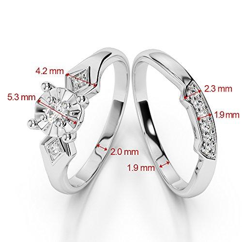 Or blanc 18carats 0,10ct G-H/VS Certifié Coupe ronde Rubis et diamant de mariage Bague de fiançailles et ensemble de Agdr-1058