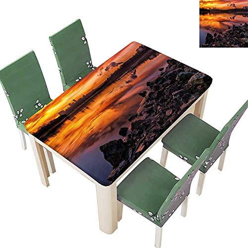 Printsonne Polyester Fabric Tablecloth Missouri Kansas City Scenery Sunset Nature Camping Themed Multicolor Summer & Outdoor Picnics 54 x 120 Inch (Elastic Edge) - Set Missouri Train