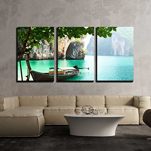 wall26 - 3 Piece Canvas Wall Art - Long Boat on Island in Thailand - Modern Home Decor Stretched and Framed Ready to Hang - 16