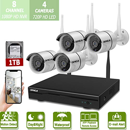 Wireless 8-Channel 1080P Security Camera System with 4pcs 720P Full HD Cameras,Home CCTV Surveillance System,Indoors&Outdoors IP Cameras+8CH House WiFi NVR Recorder,1TB Hard Disk Drive Pre-Installed.