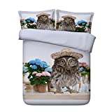 EsyDream 3D Oil Painting Country Strawhat Parrot Design Kids Duvet Cover King Queen Twin Size Cotton 3D Country Strawhat Parrot With Floral Bedding Sheet(Twin Size 4pc)