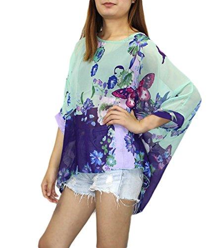Print Sleeve T Caftan Letsenvy Shirt Tops Girls Hippie Cover 4 Boho Tunics Ups Beachwear 3 Dolman Sheer Batwing Flower Blouse Bikini for � Chiffon Oversize Chic Poncho Sleeve Women Bohemian 4228 Semi qg8HnRPw