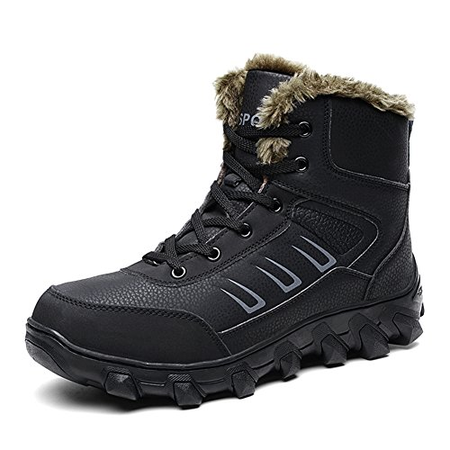 Men Hiking Leather Boot (Barerun Men Leather With Fur Lace-up An-Slip Rubber Sole Outdoor Winter Snow Boot Black 10 D(M) US)