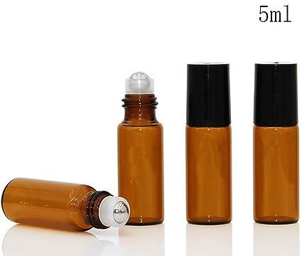 5 ml ámbar aceites esenciales Roller Botellas con bolígrafo de acero inoxidable para aceite esencial,