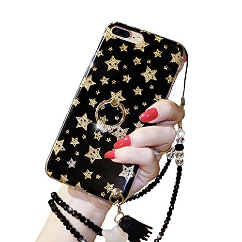 Black Lemon iPhone X Kickstand Case, iPhone 10 Phone Case, Luxury Bling Glitter Soft TPU Gel Beauty Shiny Flower Cute Candy Protective Cover Case for Girls with Wrist Strap (iPhone X, Star)
