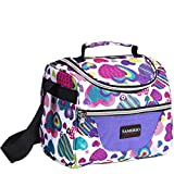 Kids Lunch Bag insulated Lunch Box Lunch Organizer Cooler Bento Bags for School Work/Girls Boys Children Studen Women with Adjustable Strap and Zip Closure Travel Lunch Tote, Front Pocket (purple)