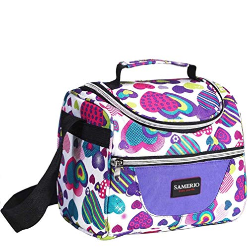 (Kids Lunch Bag insulated Lunch Box Lunch Organizer Cooler Bento Bags for School Work/Girls Boys Children Studen Women with Adjustable Strap and Zip Closure Travel Lunch Tote, Front Pocket (purple))