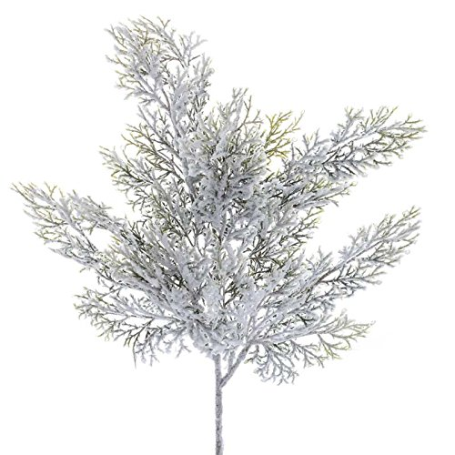 Factory Direct Craft Group of 2 Snowy Artificial Cedar Picks for Embellishing Florals, Centerpieces, and More