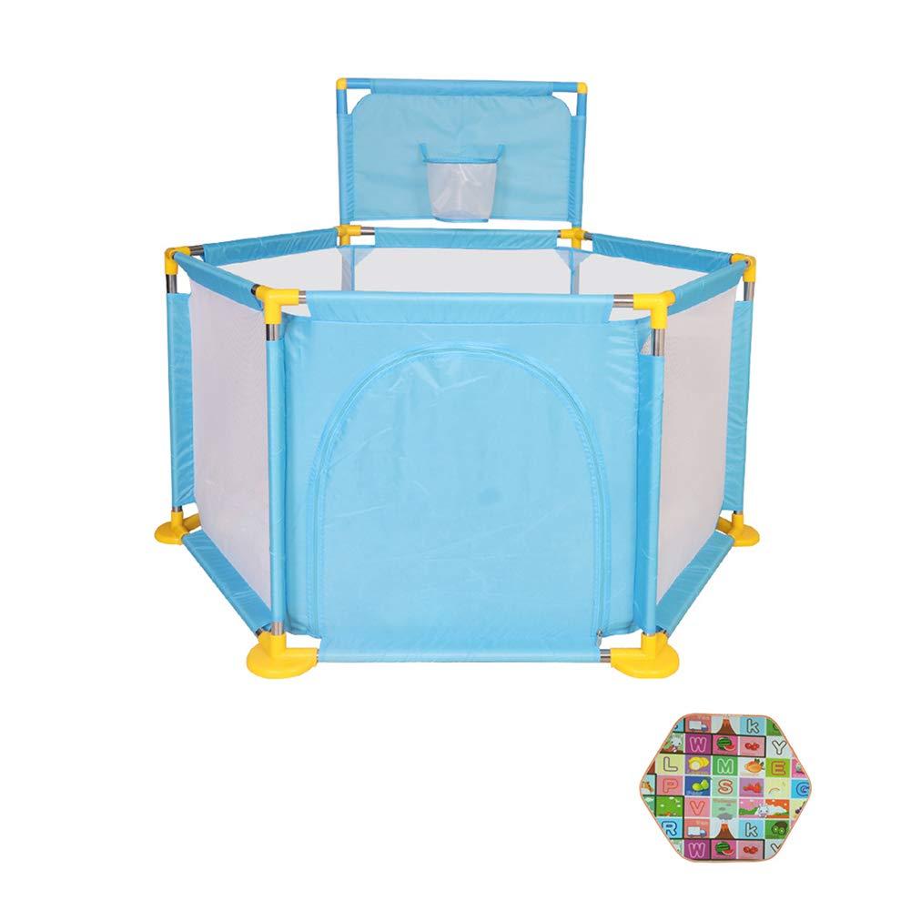 ベビーサークル 室内の赤ん坊の遊び場の幼児の遊び場クロールマット、シューティングバスケット、通気性のメッシュの女の子の男の子 (色 : 青)  青 B07KWSMFTN