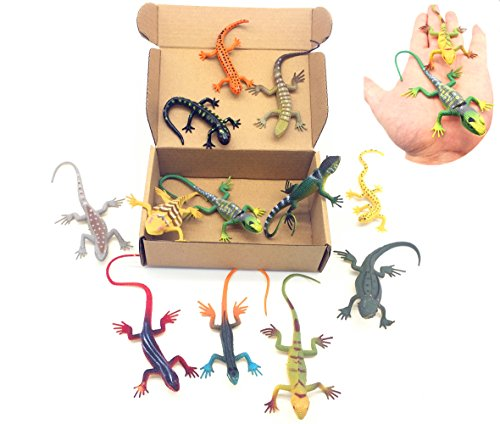 Qiandier Lizard Figures Model Set of 12pcs Simulation Reptiles Toy Gecko Chameleon ()