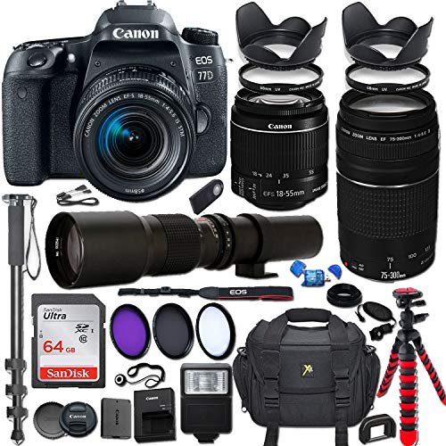 Canon EOS Rebel 77D DSLR Camera with 18-55mm is STM Lens Bundle + Canon EF 75-300mm f/4-5.6 III Lens and 500mm Preset Lens + 64GB Memory + Filters + Monopod + Spider Tripod + Professional Bundle ()