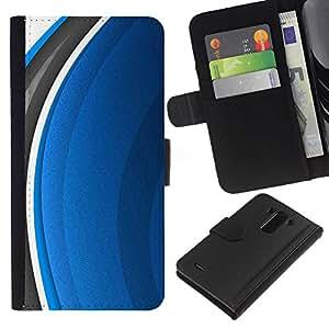 Planetar® Modelo colorido cuero carpeta tirón caso cubierta piel Holster Funda protección Para LG G3 / D855 / D850 / D851 ( Abstract Blue )