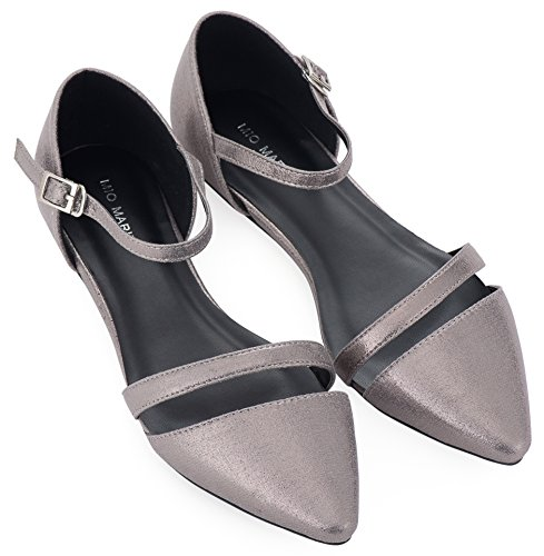 - Mio Marino D'Orsay Pointed Toe Flats - Womens Ankle Strap Dress Shoes (Mink Gray Metallic, 9.5)