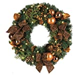 "24"" LED Lighted Pre-Decorated B/O Artificial Christmas Wreath - Clear Lights"