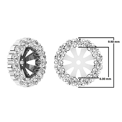 0.65 Carat (ctw) 10K White Gold Round Cut Diamond Removable Jackets For Stud Earrings by DazzlingRock Collection