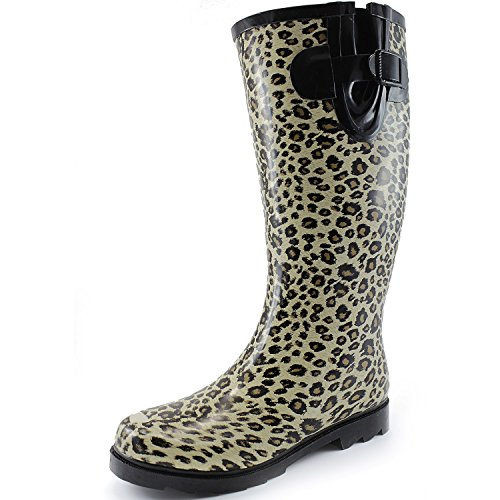 Women's Puddles Rain and Snow Boot Multi Color Mid Calf Knee High Rainboots,Leopard 8 B(M) US (Rain Women 7 Size Boots)